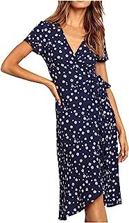 GRMO-Women Long Sleeve Crewneck Cotton Linen Pleated Solid Mini Dress