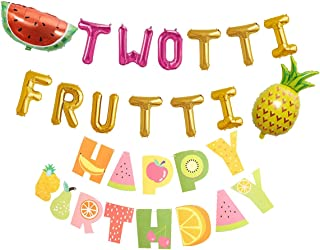 Twotti Frutti Foil Letter Balloons 2nd 2 Girl Fruit Birthday Party Decorations with Fruit Happy Birthday Banner and Pineapple, Water Melon balloons