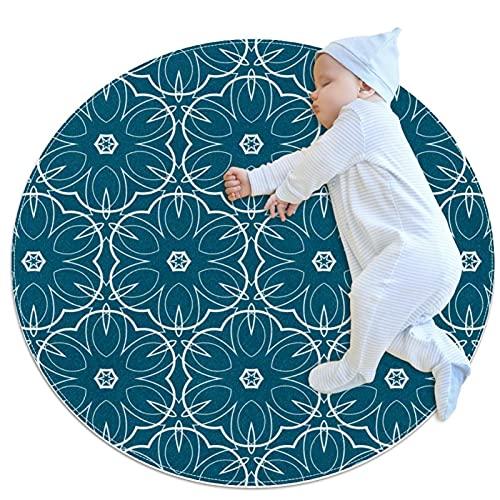 Alfombra redonda de yoga para sala de estar, dormitorio y baño redondo círculo liso alfombras modernas alfombras circular suave patrón azul oscuro