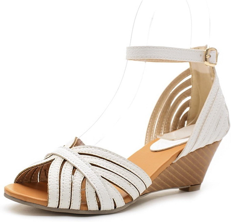 AdeeSu Womens Wedges Metal Buckles Peep-Toe Fabric Sandals SLC03656