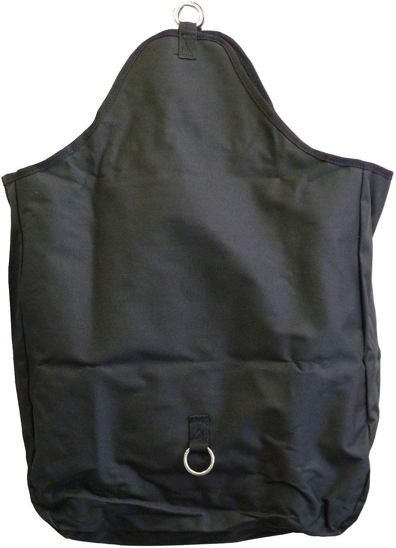 AJ Tack Wholesale Horse Feeding Hay Bag Solid Panel with Metal Rings 600D Canvas Nylon Black