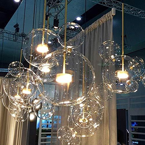 XHLXF Ristorante nordico Bubble Ball Lampadario a LED Bar Finestra Galleria Soggiorno Lampada Creativa Fagiolo di vetro Magico Lampadario molecolare 1,4,6,14 Lampada a sfera con sorgente luminosa a LE