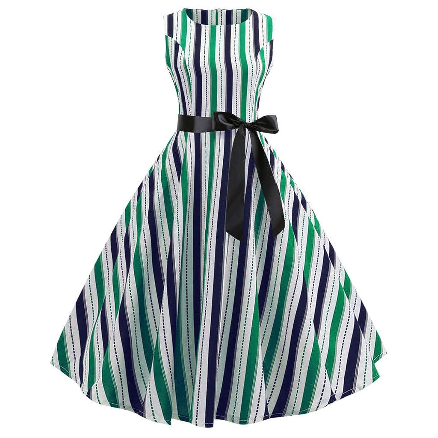 LEXUPA Women Vintage Bodycon Sleeveless O Neck Evening Printing Party Prom Swing Dress