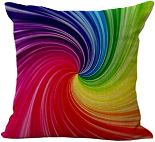 Andreannie Bright Rainbow Colored Weave Dynamic Design Home Cotton Linen Throw Pillow Case Personalized Cushion Cover New Home Office Decorative Square 18 X 18 Inches (Swirl)