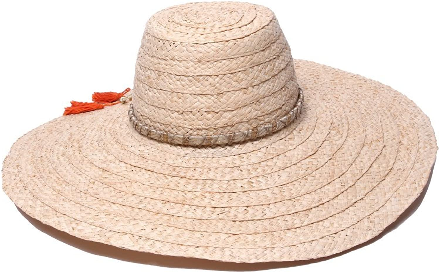 'ale by alessandra Womens Palapa Large Brim Raffia Floppy Hat with Metallic Sari Trim Hat