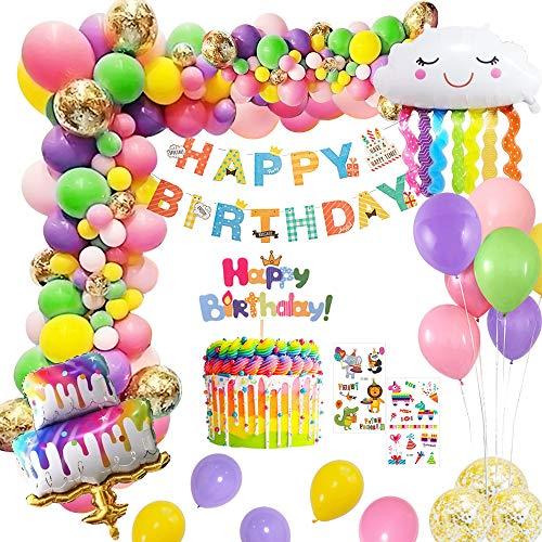 MMTX Geburtstag Deko Happy Birthday Girlande Ballonset mit Kuchenballon, Tattoo Aufkleber Wolkenballon Cake Topper für Jungen Mädchen Kinder Geburtstagsdeko Dekoration Bunt