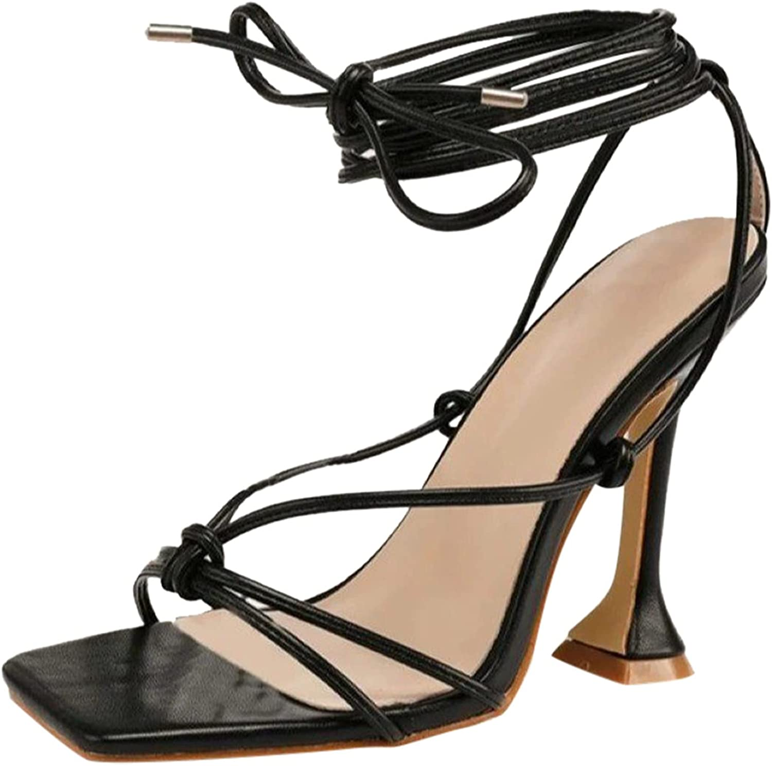 KAIXINDAJ Women's Chunky High Heel Sandals Casual Breathable Outdoor Leisure Strappy Open Toe Ankle Strap Dress Shoes for Women Wedding Bridal Evening Homecoming Prom