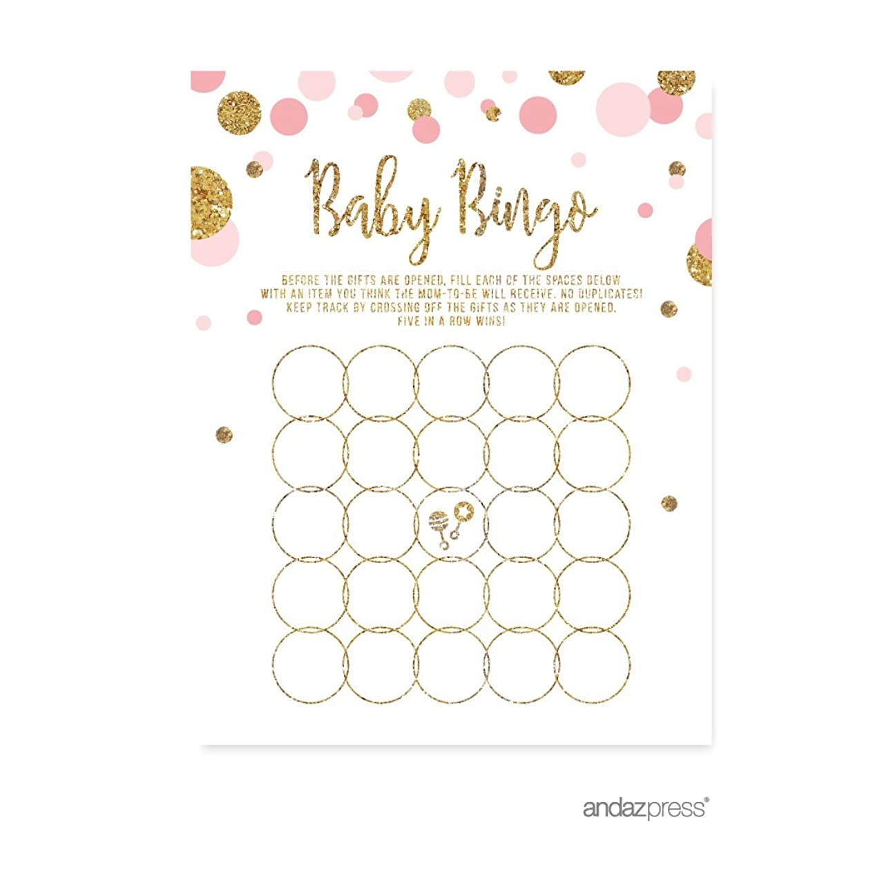 Andaz Press Blush Pink Gold Glitter Girl Baby Shower Party Collection, Games, Activities, Decorations, Baby Bingo Game Cards, 20-pack