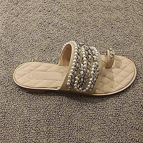 ypyrhh Chaussons de Été Plage Vacances Décontractée,Pantoufles de la chaîne de Perles,taux d'usure Plate à Plat avec Chaussures pour...
