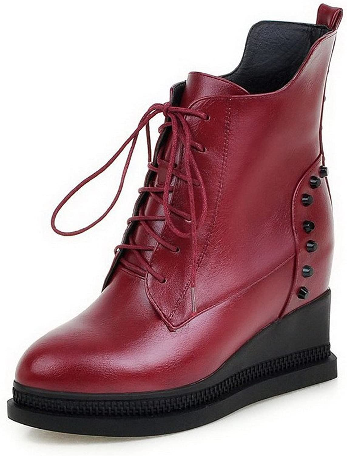 AmoonyFashion Women's Round Closed Toe Low Top High Heels Solid Pu Boots
