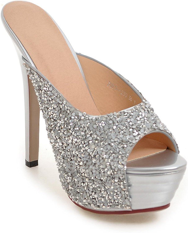 AIWEIYi Womens Peep Toe Glitter Stiletto High Heel Sandals Slip on Slides Slippers White