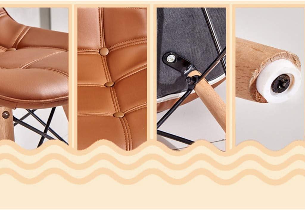 AJS Chaise De Style Européen Chaise De Salle À Manger En Bois Massif Siège Arrière En Cuir Chaise Longue De Salon 41x84cm A++ (Couleur : Orange) Noir