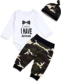 Newborn Infant Baby Boy Clothes Ladies I Have Arrived Letter Print Romper+Long Camouflage Pants+Hat 3PCS Outfits Set