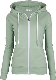 MAJECLO Women's Casual Full-Zip Hooded Lightweight Long Sleeve Sweatshirt