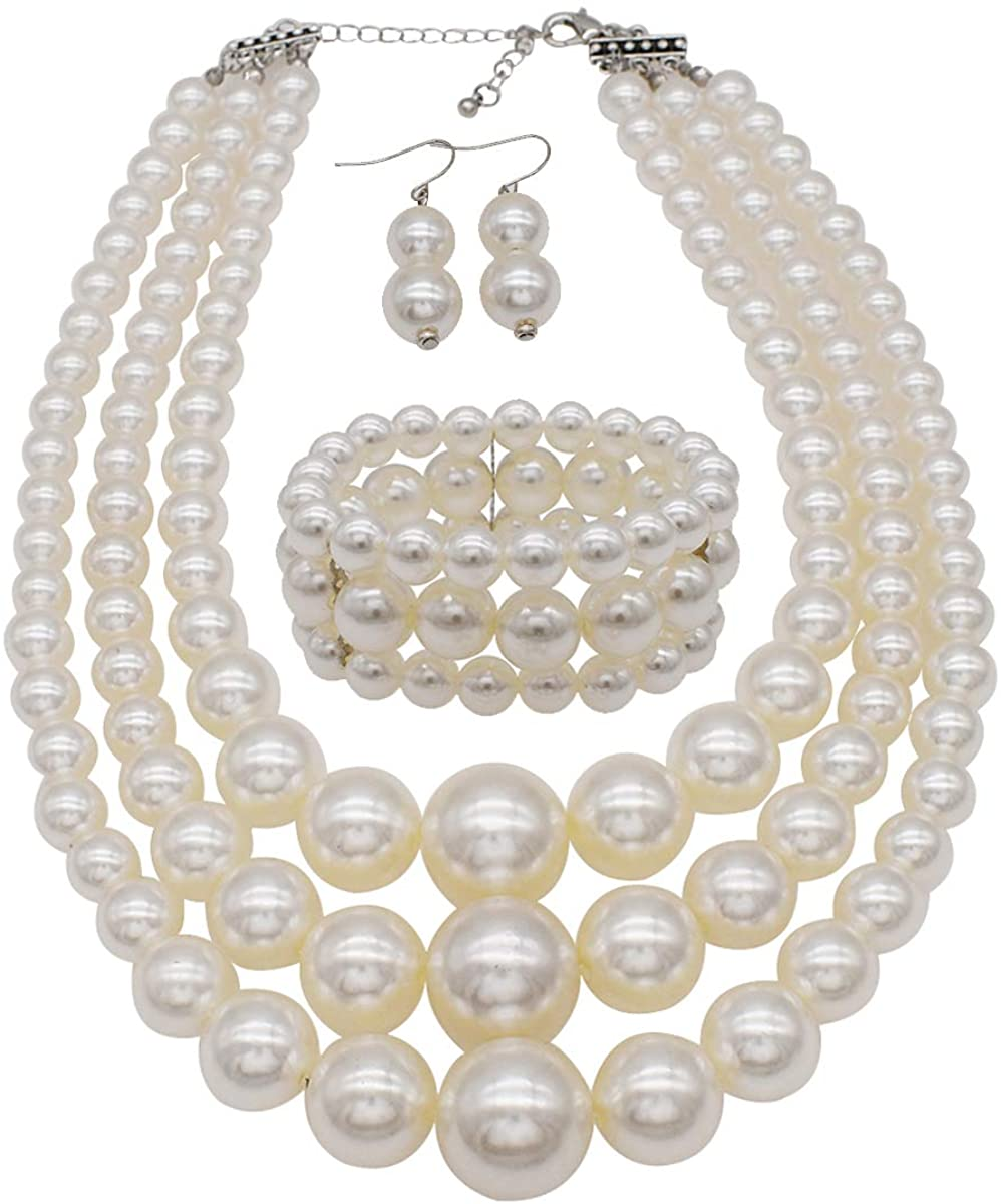 Big Pearl Necklace for Women Chunky Pearl Necklace and Earring Set Large Pearl Costume Necklace 1920s Pearl Necklace Faux Pearls Gatsby Accessories