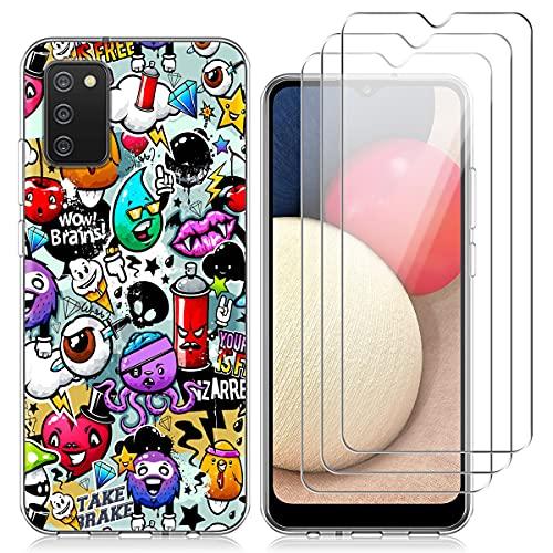 Reshias Cover per Samsung Galaxy A02S, Colorato Morbido TPU Protettiva Custodia con Tre [9H Durezza] Vetro Temperato Pellicola Protettiva per Samsung Galaxy A02S 6.5''