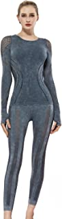 Women's Yoga Suit 2 Pieces Mesh Splicing Stretch Yoga Pants and Long Sleeves Sports Crop Top Sportswear Sets