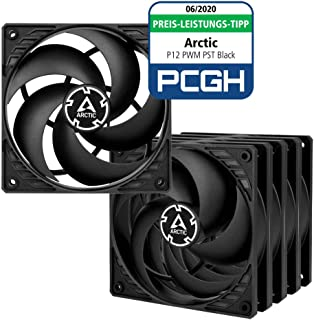 ARCTIC P12 PWM PST (5 piezas) - 120 mm Ventilador de Caja para CPU con PWM Sharing Technology (PST), Motor Muy Silencioso, Computadora, 200-1800 RPM - Negro/Negro