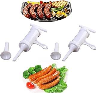 MIAO JIN 2 Pack Plastic Sausage Stuffer Barrel Manual Sausage Maker Meat Stuffer Filler Hand Operated Salami Maker (White)