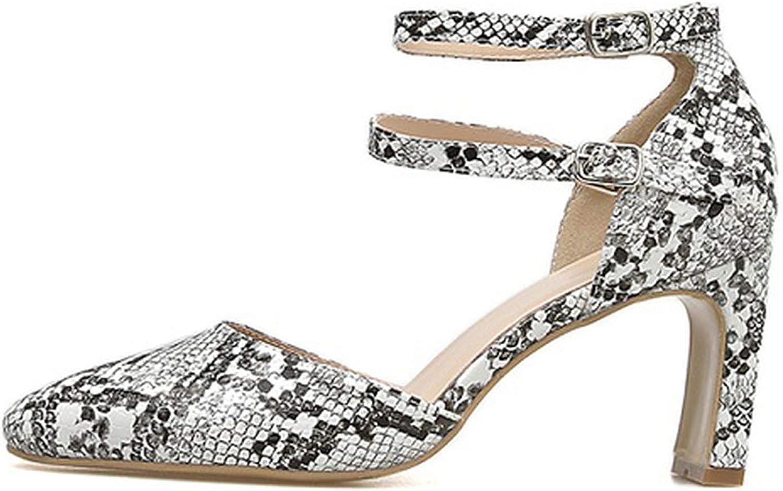 Rome Leopard Pumps High Heel Women Sandals Square Heel 7CM Buckle Stra,