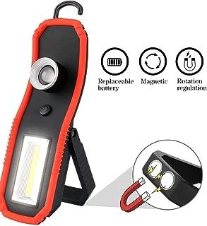 Id/éale pour Bricolage Camping Atelier Lampe Torche Puissante Magn/étique avec 1x LED 1x COB Navaris 2X Lampe de Travail LED sans Fil