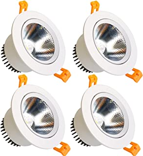 LightingWill LED Downlight 9W Dimmable Warm White 3000K-3500K CRI80 COB Directional Recessed Ceiling Light Cut-Out 3.35in (85mm) 60 Beam Angle 80W Halogen Bulbs Equivalent 4 Pack