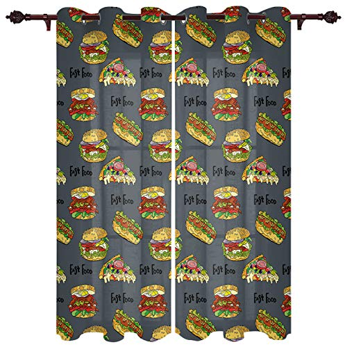 Curtains 2 Panel Set, Delicious Hamburgers and Pizza Kitchen Window Grommet Treatment Set for Living Room Bedroom,52 x 72 Inch