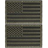 FRTKK IR Infrarot USA US Amerikanische Flagge Patch Regular & Reverse Tactical Milltary Patch (Army Green-2 Pcs Regular )
