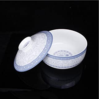 Ceramic Tableware 8.25 Inches Big Soup Pot Soup Basin with Cover Soup Bowl ( Color : NO Spoon )