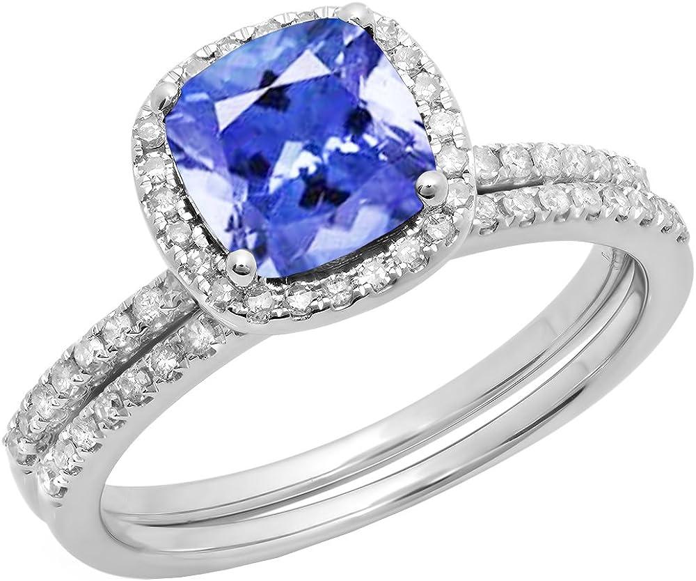 Dazzlingrock Collection 10K 7 MM Cushion Gemstone & Round White Diamond Halo Wedding Ring Set, White Gold