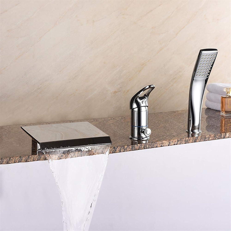 JIANGYE Moderner Luxus Bath Shower Tap Bad Watefall Single Handles 3 Loch Mixer Tap mit Handheld Shower Head Messing Chrome