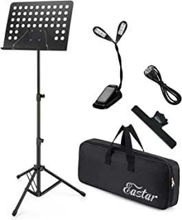 Eastar Folding Sheet Music Stand EMS-1 Portable Foldable Metal Stand Kit with Light Carrying Bag, Black