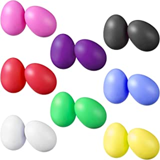 cococity 16pcs Plástico Percusión Huevo Musical Maracas Huevo Coctelera Niños Juguetes 8 Colores