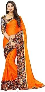 Regent-e Fashion Women's Georgette Saree With Blouse Piece(3004_Orange_Free Size)