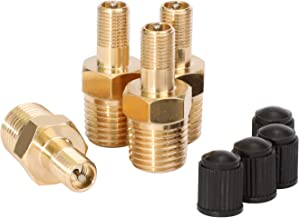 WYNNsky Tank Valve, Standard Valve Core with 1/4''NPT Male Threads, 4 Pieces Brass Valve with Sealing Caps