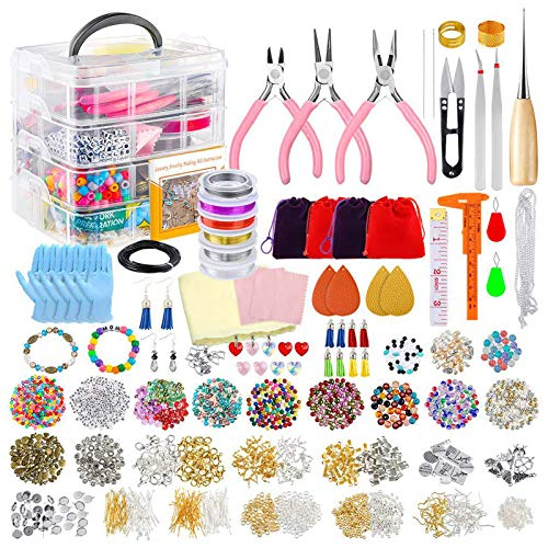 certylu Jewelry Accessories Parts,Jewelry Making Supplies DIY Kit with Beads Charms Findings Jewellery Pliers Wire