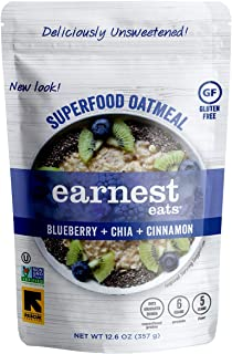 Earnest Eats Superfood Hot Cereal with Quinoa, Oats & Amaranth, Vegan, Gluten Free, Blueberry Chia Blend, 12.6oz Bag, Pack...