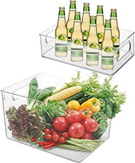 Queta 2 Pcs Organisateurs de réfrigérateur Alimentaire, Conteneur de rangement pour Produits Frais avec poignée, Boîte de ...