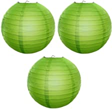 Reiki Crystal Products Lantern Paper Lamp Paper Ball Lamp Shade 12 Inch Paper Lamp for Decoration at Diwali Party Birthday Colors Green Pack of 3 pc