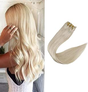 Full Shine 12 Inch Clip in Hair 7A Grade Solid Blonde Hair Extensions 100% Remy Brazilian Hair Pure Color #60 120g Clip in Human Hair 9 Pcs Extensions Double Wefted Clip Hair For White Women
