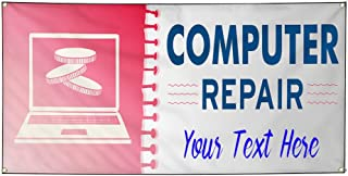 Custom Industrial Vinyl Banner Computer Repair Style D Personalized Text Here 4 Grommets 24x48Inches
