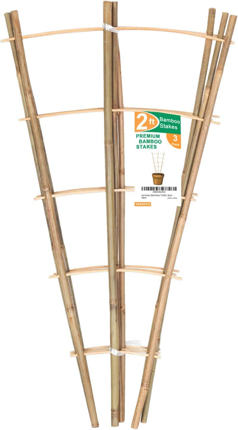 vensovo 3pcs Garden Bamboo Trellis - 24 inch Tall Natural Bamboo Plant Stick, Bamboo Stakes Support Climbing for Tomato, Bean, Trees