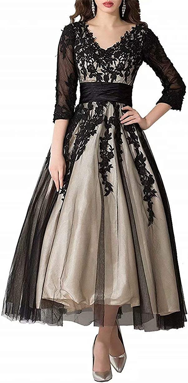 Women's Lace Applique Tulle Formal Prom Evening Dress Tea-Length Mother of Bride Dresses 3/4 Sleeve