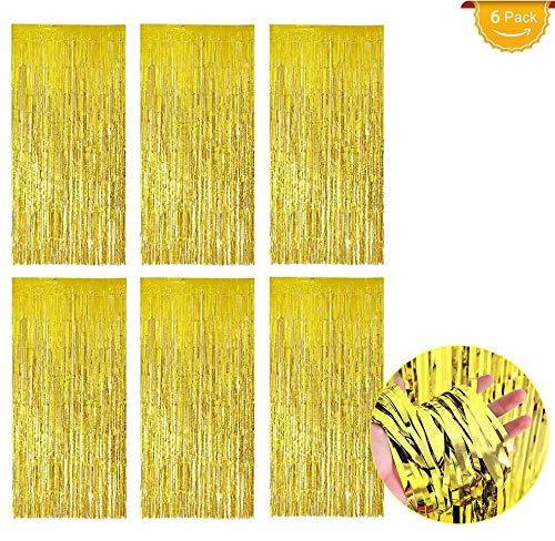 Lametta Vorhänge Gold 6 Stück(1m*2m), Glitzer Vorhang Deko, Folienvorhang/Metallic Tinsel Vorhänge/Shimmer Vorhang für Party Hochzeit Geburtstag Hintergrund Dekorationen