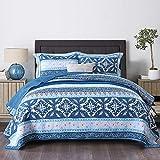 Qucover Blau Tagesdecke 220x240cm für Doppelbett, Baumwolle Boho Decke, Bunter Gesteppter Bettüberwurf, Dünne Steppdecke mit Kissen Set, Indischer Stil