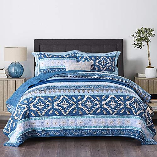 Qucover Tagesdecke Baumwolle Blau 220 x 240 cm, Gesteppt Bettüberwurf für Doppelbett, Steppdecke mit Kissen, Landhaus Stil Patchwork Bunte Boho