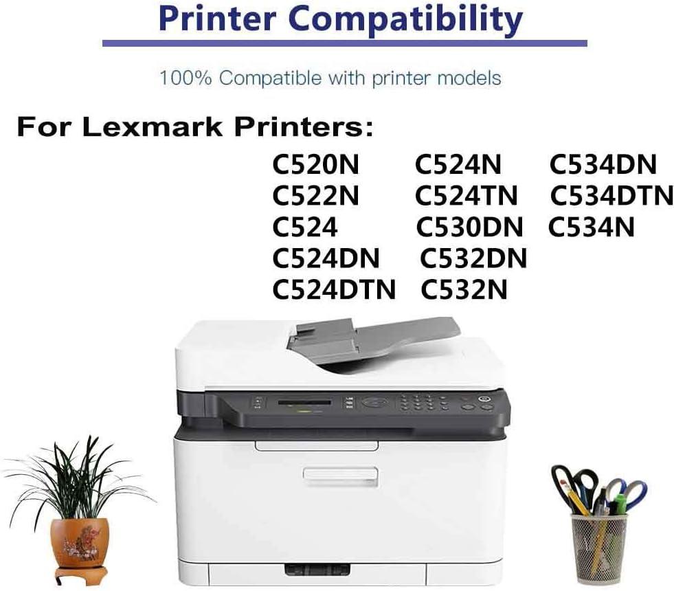 1-Pack (Cyan) Compatible C524N, C524TN, C530DN, C532DN Printer Toner Cartridge High Capacity Replacement for Lexmark C5220CS Toner Cartridge