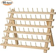 New brothread 4x60 Spools Wooden Thread Rack//Thread Holder Organizer with Hanging Hooks for Embroidery Quilting and Sewing Threads