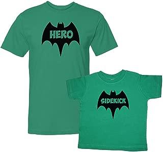 We Match! Bat Hero & Sidekick Super Hero Matching Adult T-Shirt & Child T-Shirt Set