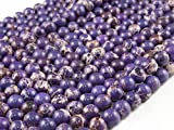 Beads Ok, Abalorios Cuentas Piedra Semipreciosa Jaspe Imperial Púrpura Teñido Esferas Bola Redonda 8mm~38cm un Tira, Vendido por Tira. 8mm Round Colored Purple Imperial Jasper Gemstone Beads